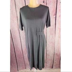 COS Gray Dropped Shoulders Side Strap Dress